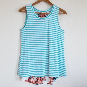 Le Lis Mixed Media Floral and Stripe Tank